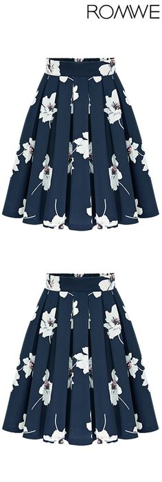 Flowers Print Chiffon Pleated Navy Skirt.  Floral print skirt in navy. This color is more chic than cute, good for work and event. Soft chiffon material with knee length make you look royal. I just want kisses with this dress.