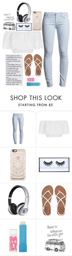 """""""Your message made my day. You're so amazing. ILYSM"""" by graciegirl2015 ❤ liked on Polyvore featuring 7 For All Mankind, Miguelina, Casetify, Huda Beauty, Beats by Dr. Dre, Billabong and Maybelline"""