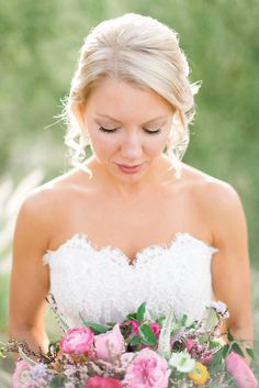 Beautiful bouquet. Victoria Nicole wedding dress. Photograph by Rustic White Photography