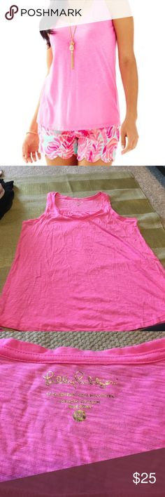NWOT Lily pulitzer Liddy scoop neck tank in pink. NWOT Lily pulitzer Liddy scoop neck tank in pink. Never worn because it was too big for me. New without tags Lilly Pulitzer Tops Tank Tops