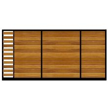 Modern Sliding Gate, the Stamford. Electric or manual opening system. Constructed using either Iroko hardwood or Western Red Cedar.