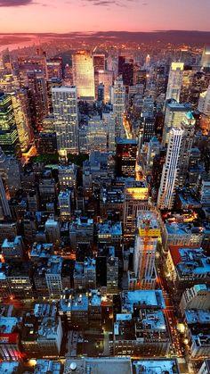 1080x1920 Wallpaper new york, night, skyscrapers, top view ...
