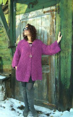 Lilac handknit boucle coat Mauve handmade от JuliasFineKnits