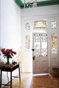 Love the stained glass with white!