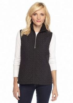 Kim Rogers  Solid Floral Quilted Vest