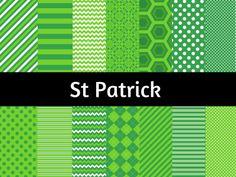 St Patrick Digital Paper, Saint Patrick Background, Leprechaun Digital Paper, Scrapbook Paper, St Patrick