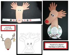 Choose a keepsake reindeer for your students to make by tracing their foot with their shoe on.  Antlers are made from their hand prints.   One reindeer is a slider and reviews 2D shapes.