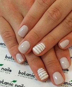 neutral nails with accent - neutral nails . neutral nails with sparkle . neutral nails with accent . neutral nails for pale skin . Short Nail Designs, Gel Nail Designs, Striped Nail Designs, Striped Nails, Nails With Stripes, Neutral Nail Designs, Nails Design, Simple Nail Designs, White Nails With Design