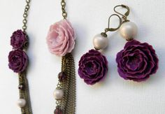 Violet  jewelry  Peony jewelry  Handmade necklace by insoujewelry, $84.00