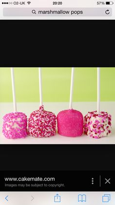 Pops Marshmallow Pops, Candy Buffet, Cake, Desserts, Food, Tailgate Desserts, Deserts, Food Cakes, Eten