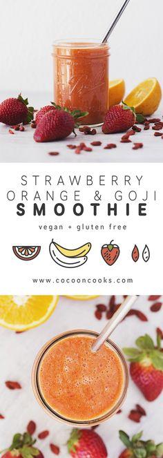 A deliciously sweet Strawberry, Orange & Goji Smoothie. #vegan #recipe #healthy
