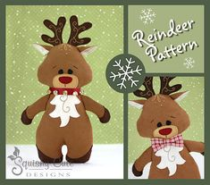 Reindeer Sewing Pattern PDF - Reindeer Stuffed Animal Pattern - Reindeer Plushie Pattern - Rudy The Red Nosed Reindeer - pattern is $6.99