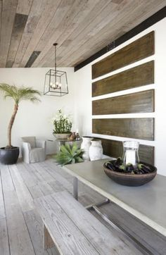 Love the indoor use of the Thai-style pots and the reclaimed wood floors in this Malibu spa resort. Outdoor Wood, Decor, Home, Remodelista, Flooring, House Flooring, Ranches Living, Interior Architect, Reclaimed Wood Floors