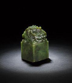 An important imperial spinach-green jade 'shui mu zhan qing hua' seal Jiaqing