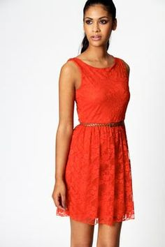 tangerine lace dress- I like this color for bridesmaid dresses!