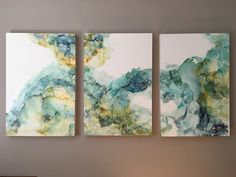 """""""Ease of Unknown"""" alcohol ink on Claybord, triptych of 24x36 panels by NC abstract artist Amanda Moody"""