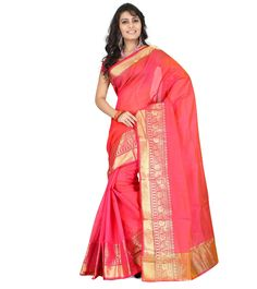 Pink Zari Work Chanderi Cotton Silk Saree #indianroots #saree #chanderi #silk #cotton #zariwork #summerwear #eveningwear #partywear