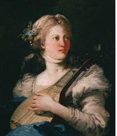 Giovanni Domenico Tiepolo (Italian: 1727-1804) - A Young Woman with a mandolin