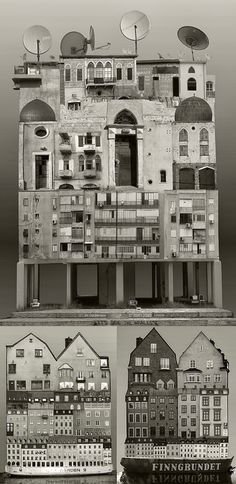Click for more pics! | Large Scale Architectural Collages by Anastasia Savinova #paperart #collage