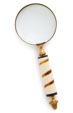 striped horn handle magnifying glass.