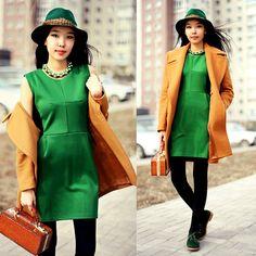 Chicnova Green Dress, Park Bravo Hat, Zara Coat
