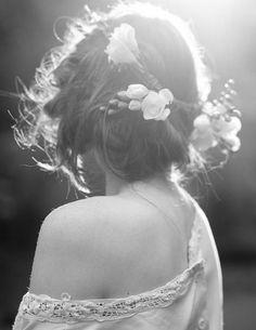 Flowers in hair.