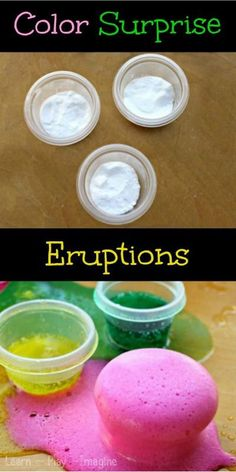Baking Soda and Vinegar Color Surprise Eruptions Science Experiment.