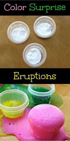 Baking Soda and Vinegar Color Surprise Eruptions Science Experiment.