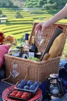 Nice picnic basket with food
