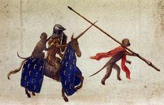 ЧАСОСЛОВ ЭНГЕЛЬБЕРТА II  Лев в шлеме и обезьяна едут на единороге. Они преследуют обезьяну, что идёт пешком.