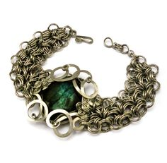 Wire Wrap Chainmaille Labradorite Bracelet by Hyppiechic on Etsy, $65.00