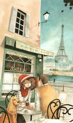 Pretty illustration of an afternoon in Paris, France Tous les garçons et les files de mon age.........