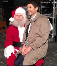 Mark and Misha goofing around on the SPN set 16/12/15