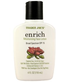 Trader Joe's Enrich Moisturizing Face Lotion; 10 beauty products from TJ's that you have to try
