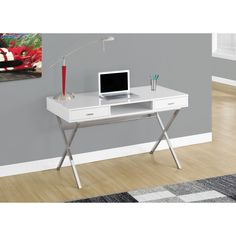 Glossy White and Chrome Metal 48-inch Computer Desk | Overstock.com Shopping - The Best Deals on Desks