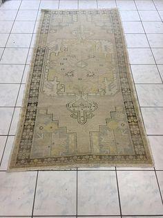 Oushak rug. Vintage oushak rug. Boho rug. Pastel rug. Perfect faded pastel Oushak rug. Textile rug. 128x262cm.----50.39x103.15inc.