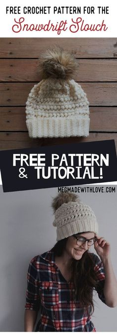 Free Crochet Pattern for the Snowdrift Slouch - Puff Stitch Beanie - Megmade with Love #CrochetBeanie