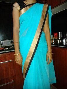Exclusive Semi chiffon sarees   Elegant Fashion Wear Price:700/- #saree #fashion #bluesaree