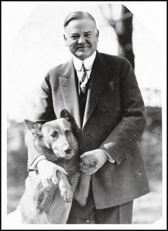 President Herbert Hoover (1929-33) poses with his uncomfortable-looking dog, King Tut, a Belgian shepherd. Circa 1928 photo courtesy Herbert E. French, Library of Congress.