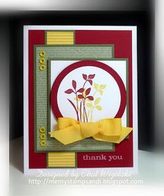 Stamps:  Just Believe. Paper: Always Artichoke, Daffodil Delight, Cherry Cobbler, Whisper White, Patterns DSP. Ink: Daffodil Delight, Cherry Cobbler, Whisper White Craft. Accessories: Daffodil Delight grosgrain ribbon, eyelets. Tools: Crop-a-dile, Dimensionals, Nestie.