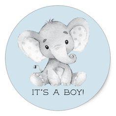 Cute Elephant It' a Boy Favor Sticker Sweet little Elephant Baby Shower Favor sticker for a boys baby shower. Idee Baby Shower, Elephant Baby Shower Favors, Baby Shower Souvenirs, Elephant Theme, Baby Shower Thank You, Cute Elephant, Baby Boy Shower, Baby Elephant Drawing, Dibujos Baby Shower