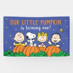 Charlie Brown and Gang Pumpkin 1st Birthday Banner: Charlie Brown and Gang Pumpkin 1st Birthday Banner $50.25 by peanuts Baby In Pumpkin, Little Pumpkin, 1st Birthday Banners, Birthday Board, Pumpkin 1st Birthdays, First Birthdays, Birthday Supplies, Outdoor Banners, Word Out