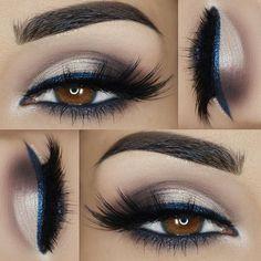 _____ »@motivescosmetics 'Mavens Element' palette »@doll10beauty Aqua Gel Eyeliner in 'Denim' »@pinkygoatlashes 'Ahdab' »@sugarnaturelbeauty 'Brow Candy' Duo Palette