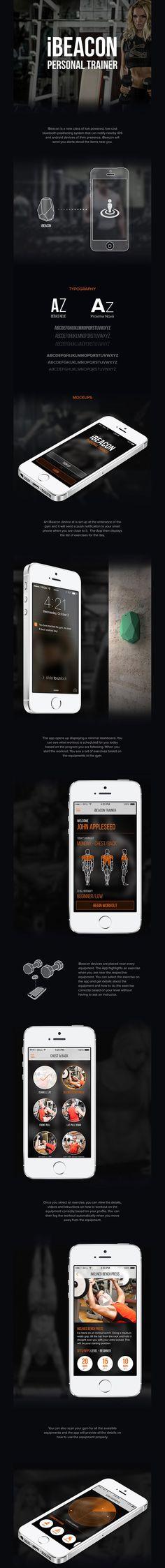 iBeacon Gym App Mobile Ui Design, App Design, Ui Design Inspiration, User Interface Design, App Development, Cool Websites, Ios, Technology, Digital
