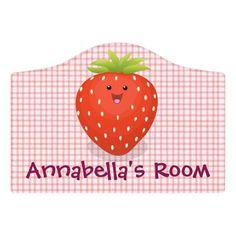 $14.46 | Cute kawaii strawberry cartoon illustration #strawberry #cute #kawaii #cartoon #strawberries #fruit #berries #summer #illustration #adorable Nursery Wall Art, Girl Nursery, Wall Art Decor, Nursery Decor, Nursery Ideas, Room Decor, Kids Door Signs, Kawaii Room, Foam Adhesive