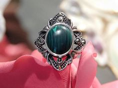 Malachite Sterling Silver Marcasite Ring Art Deco Revival Green Gemstone Cocktail Ring Size 6 Six Ring Statement BOHO Ring Jewelry Vintage