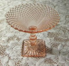 Pink depression glass compote