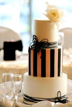 Flower & Stripe Cake by Faye Cahill Cake Design