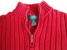 RALPH LAUREN POLO JEANS CO QUARTER ZIP SWEATER COTTON Red Black Sz ...