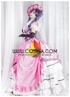 Costume Detail Black Butler Ciel Phantomhive Pink Satin Cosplay Costume Includes - Dress, Hat, Petticoat This costume have complex details and custom fabric and will require extended production time.